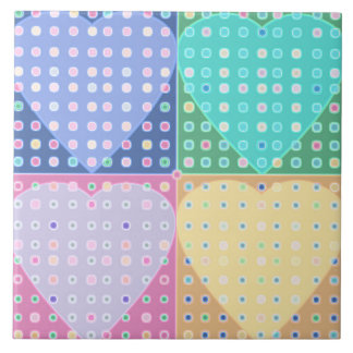 Quilt of hearts large square tile