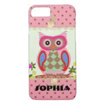 Quilt Owl Dots Custom Phone Case