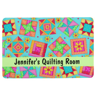 Quilt Patchwork Art Turquoise Name Personalized Floor Mat