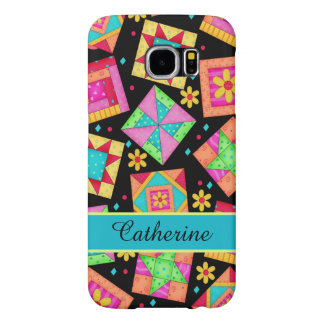 Quilt Patchwork Block Art Black Name Personalized Samsung Galaxy S6 Cases