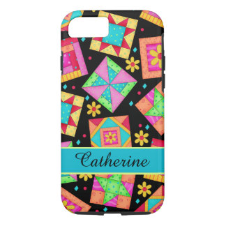 Quilt Patchwork Block Art Black Personalized Name iPhone 7 Case