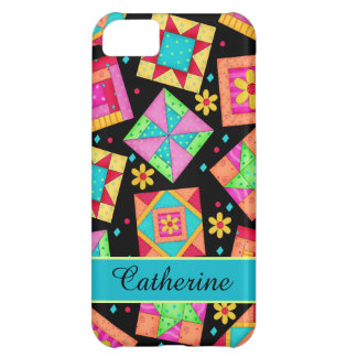 Quilt Patchwork Block Art on Black Custom Name Cover For iPhone 5C