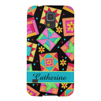 Quilt Patchwork Block Art on Black Custom Name Galaxy S5 Cover