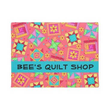 Professional Business Quilt Patchwork Blocks Red Coral Store Name Doormat