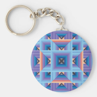 Quilt Pattern 3 in Blue and Purple Keychains