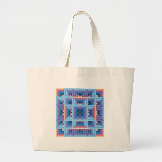 Quilt Pattern 3 in Blue and Purple Large Tote Bag