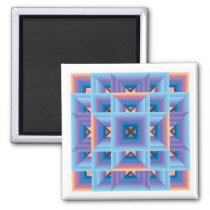 Quilt Pattern 3 in Blue and Purple Magnet