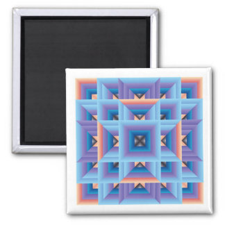 Quilt Pattern 3 in Blue and Purple 2 Inch Square Magnet