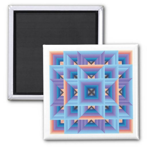 Quilt Pattern 3 in Blue and Purple Refrigerator Magnets
