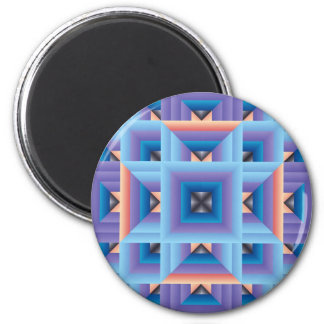 Quilt Pattern 3 in Blue and Purple 2 Inch Round Magnet