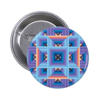 Quilt Pattern 3 in Blue and Purple Pinback Button