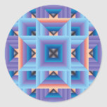 Quilt Pattern 3 in Blue and Purple Round Stickers