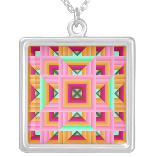 Quilt Pattern 3 pink and green Square Pendant Necklace