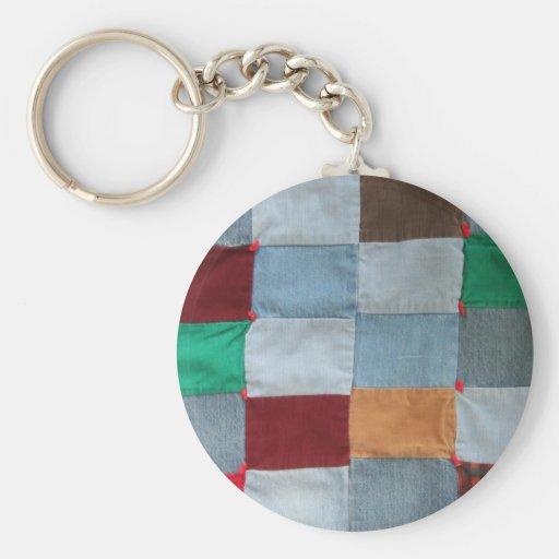 Quilt Pattern Basic Round Button Keychain