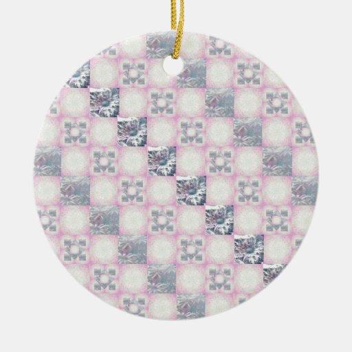 Quilt Pattern Ceramic Ornament