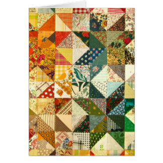 Quilt Pattern Colorful Fabric Love Peace Destiny Card
