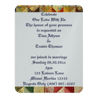 Quilt Pattern Love Wedding Bride Groom Peace Card