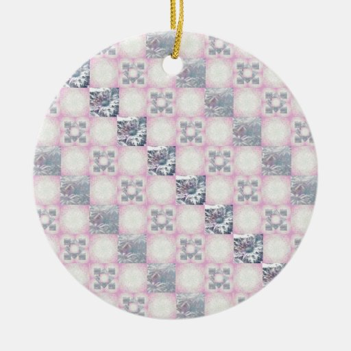 Quilt Pattern Double-Sided Ceramic Round Christmas Ornament