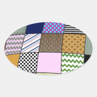 Quilt Pattern Oval Sticker