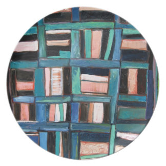 Quilt pattern plate, blues and browns plate