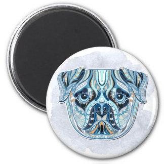 Quilt-Patterned Pug Face Magnet