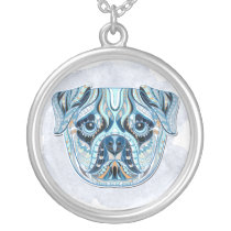 Quilt-Patterned Pug Face Silver Plated Necklace
