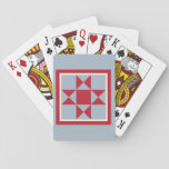 """Quilt Playing Cards - The Ohio Star (red/grey)<br><div class=""""desc"""">The Ohio Star is a popular quilt block especially when produced using school colors from The Ohio State. If you would like a free pattern for this block, please email me at learnquilting@gmail.com. Want to learn more about quilting? Visit our website - LearnHowToQuilt.com. We feature free quilting videos for beginners....</div>"""