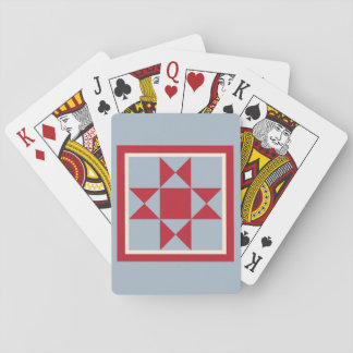 Quilt Playing Cards - The Ohio Star (red/grey)