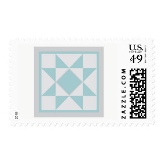 Quilt Postage Stamp - Sawtooth Star (blue/grey)