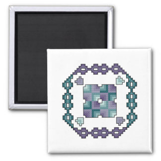 Quilt Square Cross Stitch Magnet