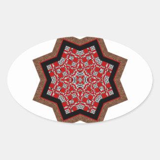 Quilt Star #1 Oval Sticker