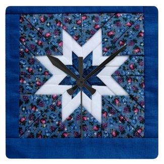 quilt star blue clock