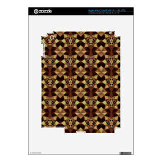 Quilt Style Pattern in Maroon and Tan iPad 3 Decal