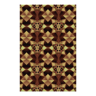 Quilt Style Pattern in Maroon and Tan Stationery