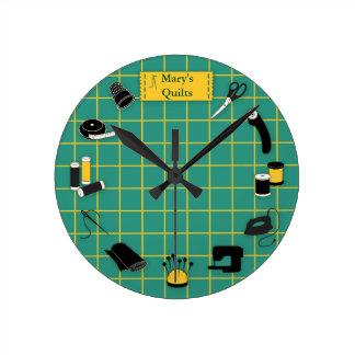 Quilt Time Customiz the Label Round Clock