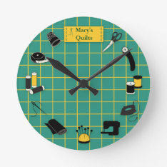 Quilt Time Customize The Label Round Clock at Zazzle