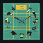 "Quilt Time Customize the Label Square Wall Clock<br><div class=""desc"">Here's my special design for fellow quilters with my favorite tools and supplies for quilting, patchwork, needlework and embroidery: sewing needles, spools of thread, pin cushion with stick pins, bobbins, thimble, tape measure, scissors, bolt of cloth, rotary cutter, sewing machine and label on a green and gold self healing cutting...</div>"