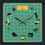 """Quilt Time Customize the Label Square Wall Clock<br><div class=""""desc"""">Here's my special design for fellow quilters with my favorite tools and supplies for quilting, patchwork, needlework and embroidery: sewing needles, spools of thread, pin cushion with stick pins, bobbins, thimble, tape measure, scissors, bolt of cloth, rotary cutter, sewing machine and label on a green and gold self healing cutting...</div>"""