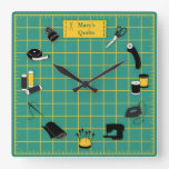 Quilt Time Customize the Label Square Wall Clock<br><div class='desc'>Here's my special design for fellow quilters with my favorite tools and supplies for quilting, patchwork, needlework and embroidery: sewing needles, spools of thread, pin cushion with stick pins, bobbins, thimble, tape measure, scissors, bolt of cloth, rotary cutter, sewing machine and label on a green and gold self healing cutting...</div>