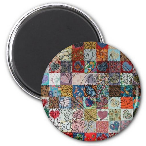quilt with hearts fridge magnet