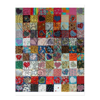quilt with hearts postcard