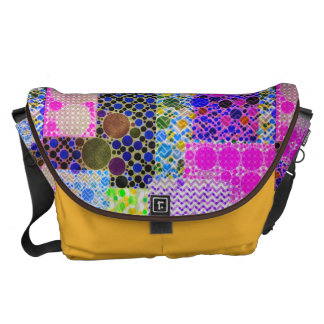 Quilted Abstract Pattern Courier Bag