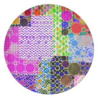 Quilted Abstract Pattern Party Plate