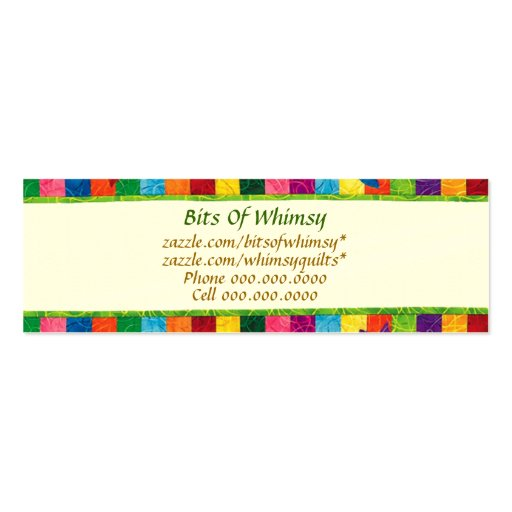 Quilted Business Cards! Double-Sided Mini Business Cards (Pack Of 20)