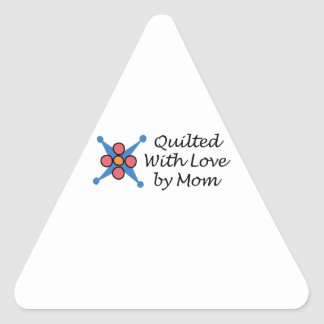 QUILTED BY MOM TRIANGLE STICKER