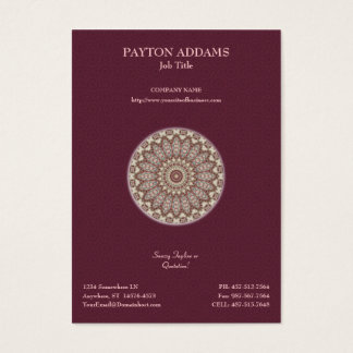 Quilted Comfort Mandala - Vertical Business Card