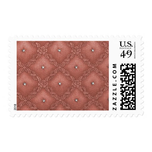 Quilted Coral  with Crystals Postage