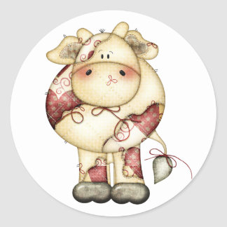 Quilted Country Cow Classic Round Sticker