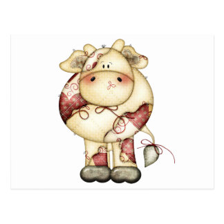 Quilted Country Cow Postcard