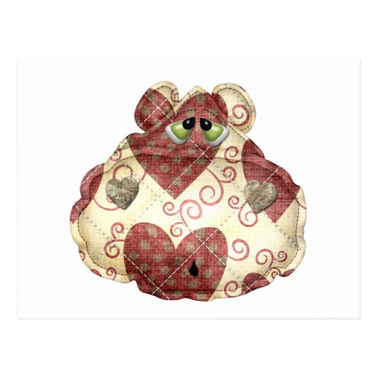 quilted country hippo head postcard
